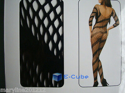 Catsuit Bodystocking Big Strip Resille Noir  Complet Open Entrejambe