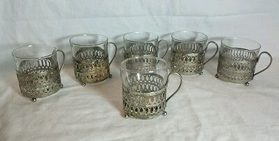 Set of 6 Vintage Duralex Glass Coffee Cups in Silver Metal Holders France