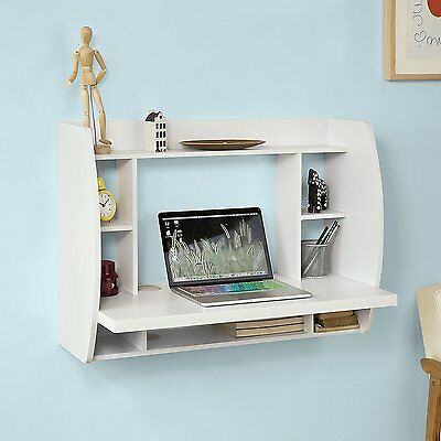 Wall Mounted Table PC Computer White Desk Small Study Writing Shelf Storage Home