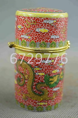 china collection handwork porcelain paint dragon play exocism evil toothpick box