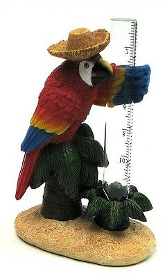 Parrot Rain Gauge Resin Tropical Patio Decor