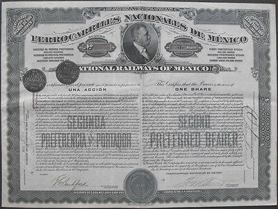 Mexico Ferrocarrilles Nacionales de Mexico Accion Share 1910 with coupons