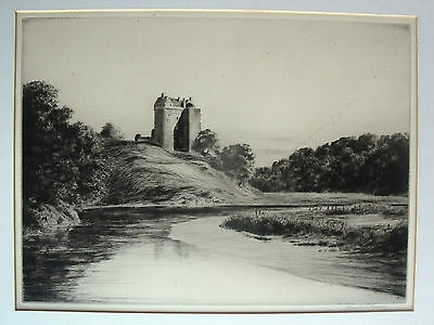 Johnstone Baird - Signed Etching - Neidpath Castle & the River Tweed, Scotland.