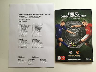 2016 Community Shield Wembley Leicester City V Manchester United Programme New