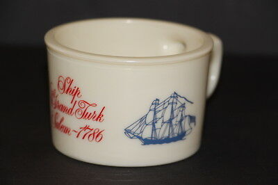Old Spice Molded Glass Shaving Mug Ship Grand Turk Salem 1786 Marked Shulton