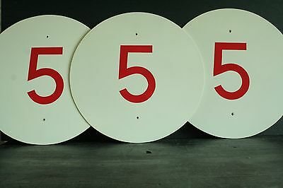 2 x Vintage Miltary No5 circular signs, house number / Interior design, 41cm