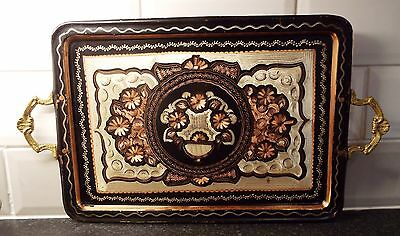 Vintage Solid Copper Etched Tray 48.5 x 27.5cms