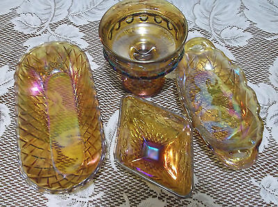 Amber Carnival Glass, Lot of 4, Depression, Vintage, Very Nice!!