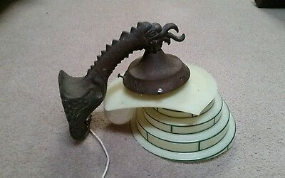 ANTIQUE Brass  GOTHIC CASTLE WINGED GRIFFIN DRAGON SCONCE Patina