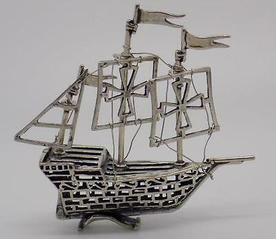 Vintage Solid Silver Columbus Caravel Ship Miniature - Stamped - Italian Made
