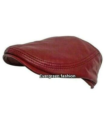 Men's Leather Ivy Cap Cherry Red Bunnet Made From Real Lambskin Fantastic Cap
