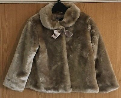 M&S Girls Faux fur coat 6-7 Years