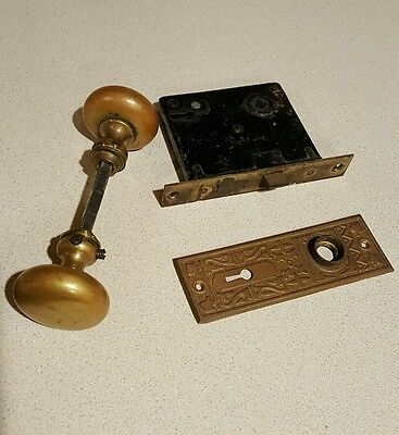Vintage antique door hardware mortise lock set brass knobs decorative