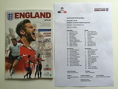 2016 Fifa World Cup Qualifier Wembley England V Spain Football Programme New
