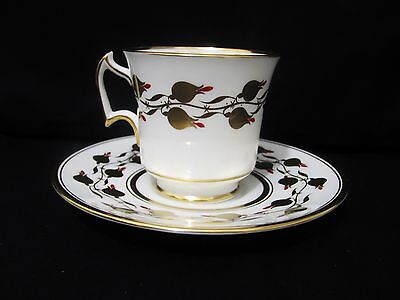 Royal Chelsea Tea Cup Saucer Heavy Gold Rose Bud w/ Red Accents England