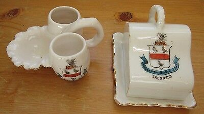 2 x Crested China items-miniature Cheese dish & Candle holder - Skegness - Gemma