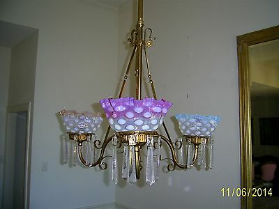 Antique Brass Electrified Gas Chandelier Light Fixture, cir 1880. all original