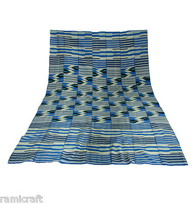 Kente Cloth Authentic Handwoven Traditional Ghana Large Cloth Blue Mix BEAUTY!