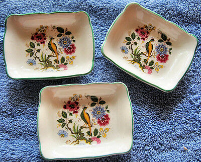 THREE Old Foley vintage small nut? Peacock decorative dishes in Mint condition