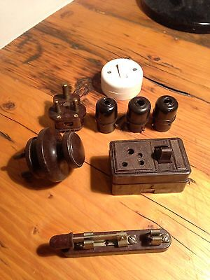 Collection of Vintage Bakelite Sockets and Switches / Plugs / Adapters