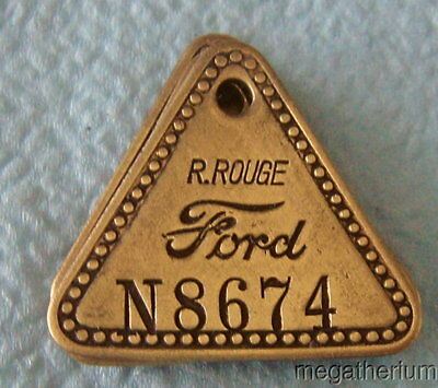 Antique Tool Check Brass Tag: FORD RIVER ROUGE AUTOMOTIVE FACTORY; w/Key Chain