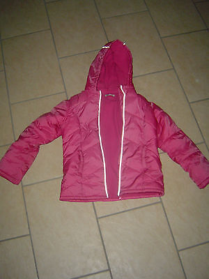 Girls Pink Coat - George - Warm Fleece Lined Anorak with Fluorescent Piping