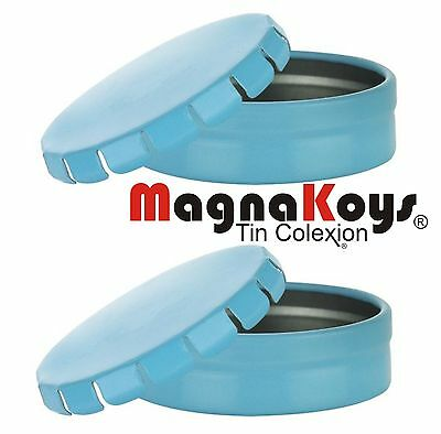 Round Blue Click Clack Metal Tin Containers for Crafts Storage by MagnaKoys®