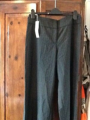 "NEW Per Una pinstriped wide leg trousers UK 14 long length 33"" M&S"