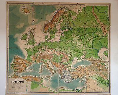 Large old philips classroom map of europe.Linen backed