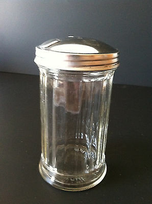 Glass Sugar Shaker - Coffee Sugar Pourer Fluted Glass Design w/ Secure Metal Lid