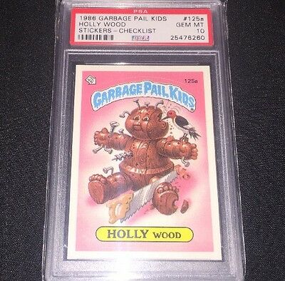 1986 Topps Garbage Pail Kids 125a Holly Wood Checklist Psa Gem Mint 10