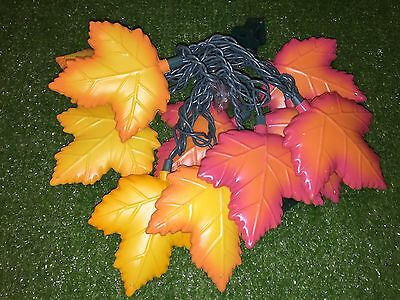 New Set Of 10 Thanksgiving/Fall Colorful Leaves Blow Mold Novelty Lights