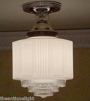 956 Vintage 30's Ceiling Light Lamp Fixture Glass Hall Porch Bath  { 4 Tiered }