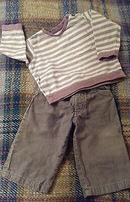 baby boys tan cord trousers and striped top 9-12 months
