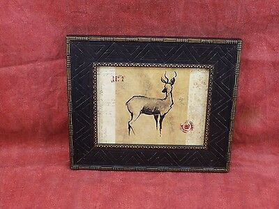 Very fine Original print of Painting of Tanzanian animal ,wood frame, Attractive
