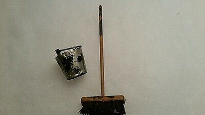 2 Vintage Miniature Dolls Sweeping Brush /metal Bucket.
