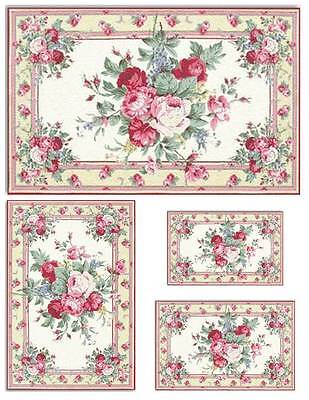 Dollhouse Miniature Pink Floral Computer Printed Rugs 1:12 Cotton