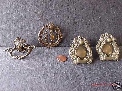 4 Vintage Ornate Brass Drawer Cabinet Pulls Assorted