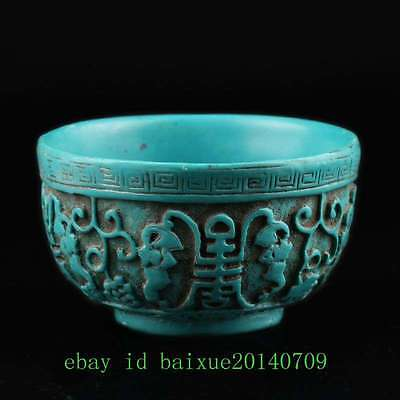 Collectibles Decorated Wonderful Turquoise Hand-Carvd Flower Bowl