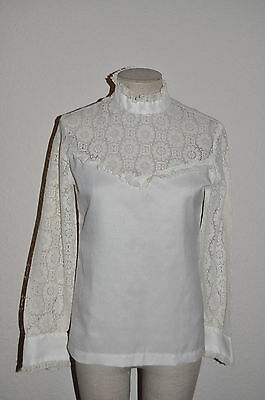 Vtg 60s VICTORIAN White Lace Insert/Sleeves High Neck EDWARDIAN Blouse Top Shirt
