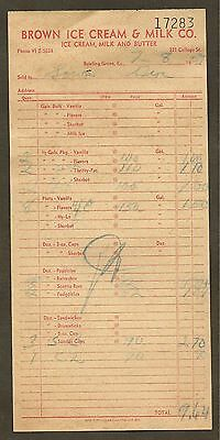 Brown Ice Cream & Milk Company, Bowling Green, Ky Invoice 1959