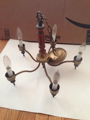 Vintage Chandelier Electric Lighting Early 1900s Brass Candle Style