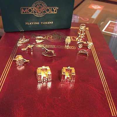 Franklin Mint Collectors Edition Gold Plated Monopoly 9 Tokens + 2 Hotels