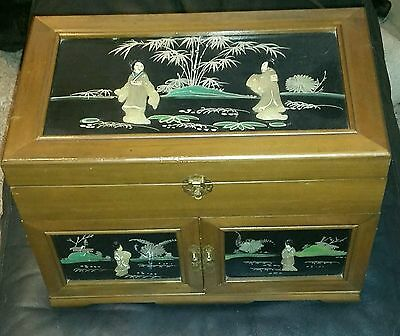 Antique Carved Chinese Wooden Decorated Jewelry Music Box Chinoserie Cabinet.