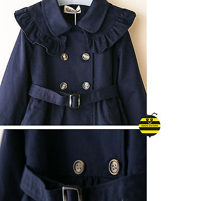 Girls Toddlers Smart Good Quality Navy Trend Coat with match lining (2-7Y)