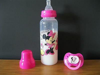 9oz Pink Minnie Mouse Reborn Baby Doll Fake Milk Bottle w/ Pink Magnet Pacifier
