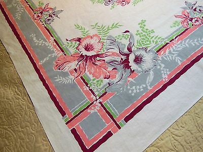 Vintage Tablecloth Large ORCHIDS Lily of the Valley
