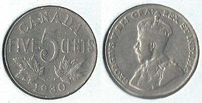 1930 Canada 5 cents coin