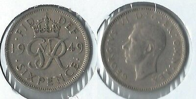 1949 Great Britain sixpence coin