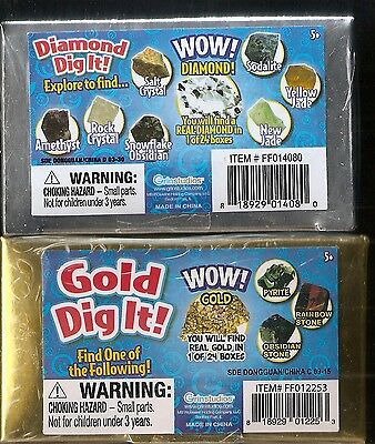 GOLD/Diamond Dig It Mystery Blind Box Find REAL Gold & Diamonds in 1 of 24 Boxes